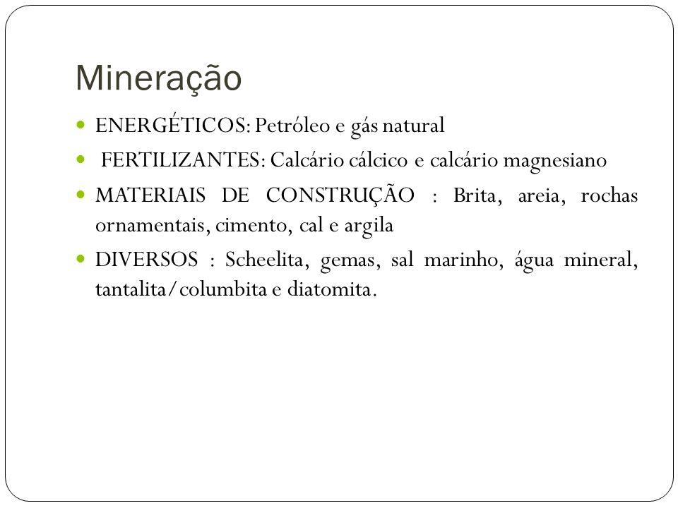 Mineração ENERGÉTICOS: Petróleo e gás natural