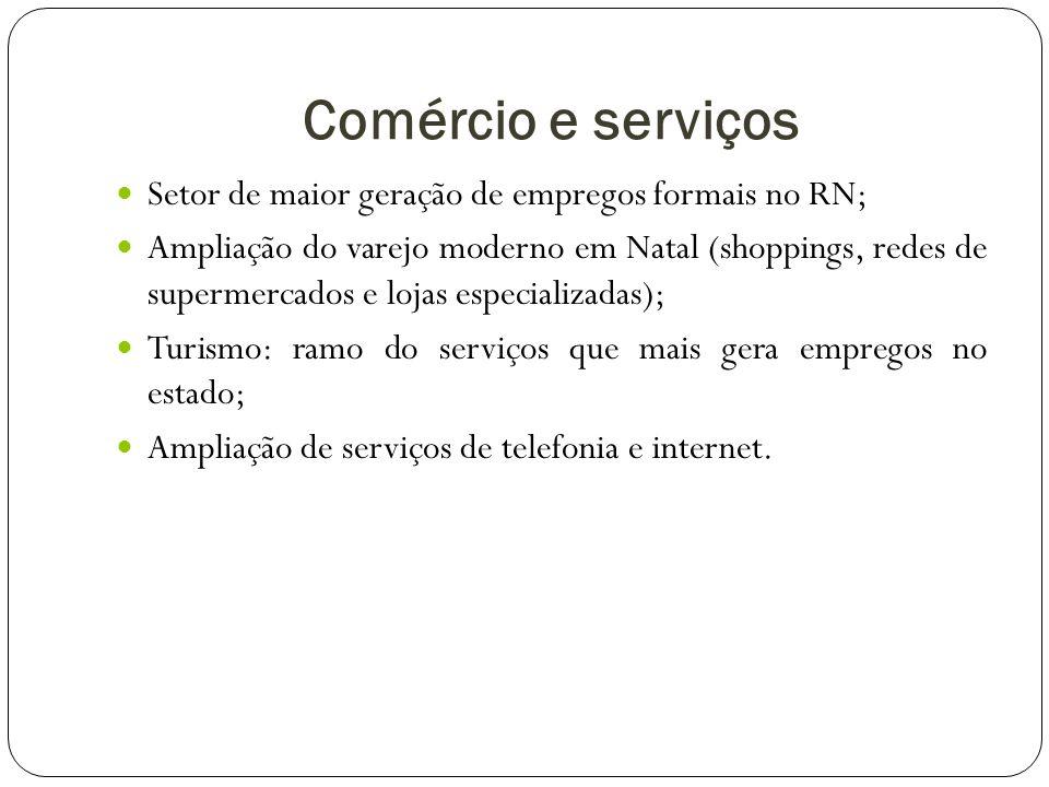 Comércio e serviços Setor de maior geração de empregos formais no RN;
