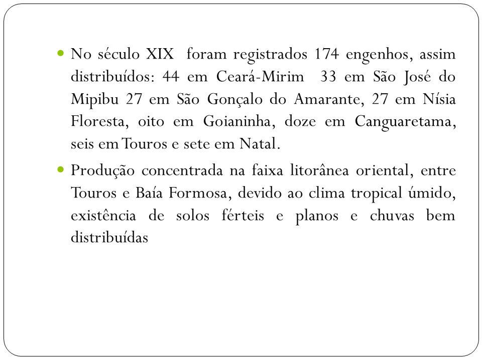No século XIX foram registrados 174 engenhos, assim distribuídos: 44 em Ceará-Mirim 33 em São José do Mipibu 27 em São Gonçalo do Amarante, 27 em Nísia Floresta, oito em Goianinha, doze em Canguaretama, seis em Touros e sete em Natal.