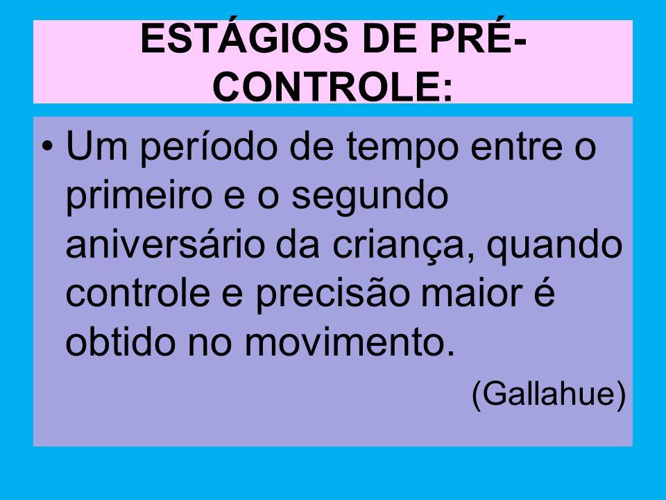 ESTÁGIOS DE PRÉ-CONTROLE: