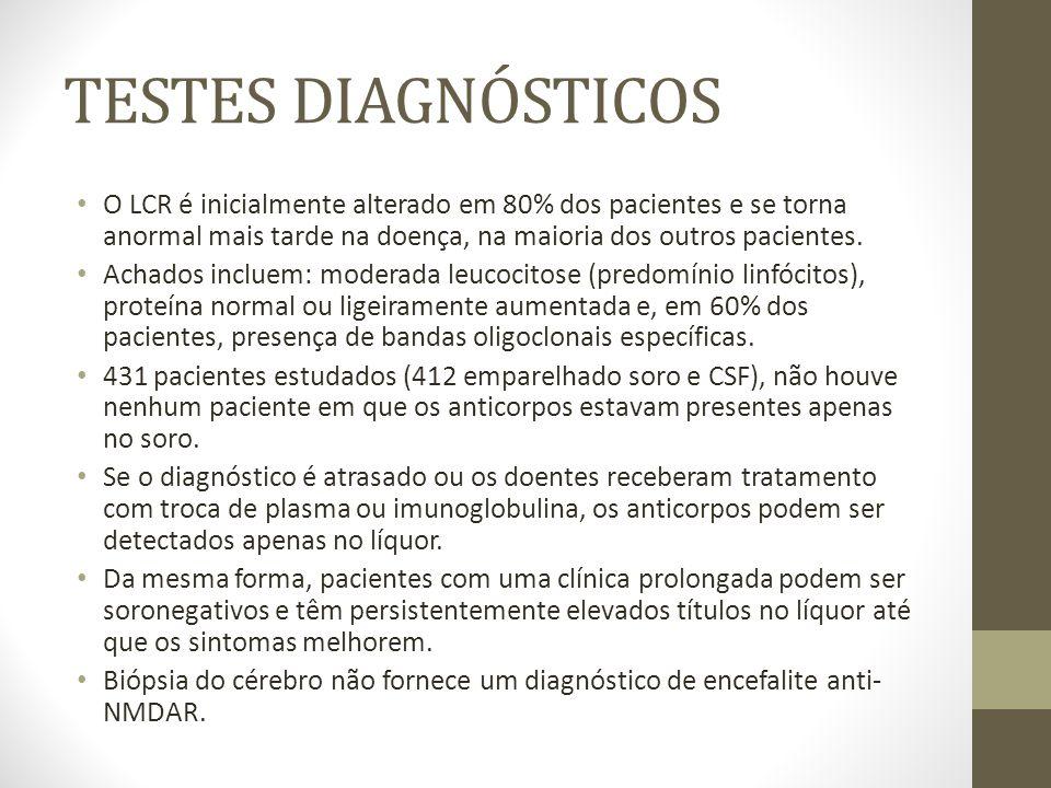 TESTES DIAGNÓSTICOS O LCR é inicialmente alterado em 80% dos pacientes e se torna anormal mais tarde na doença, na maioria dos outros pacientes.