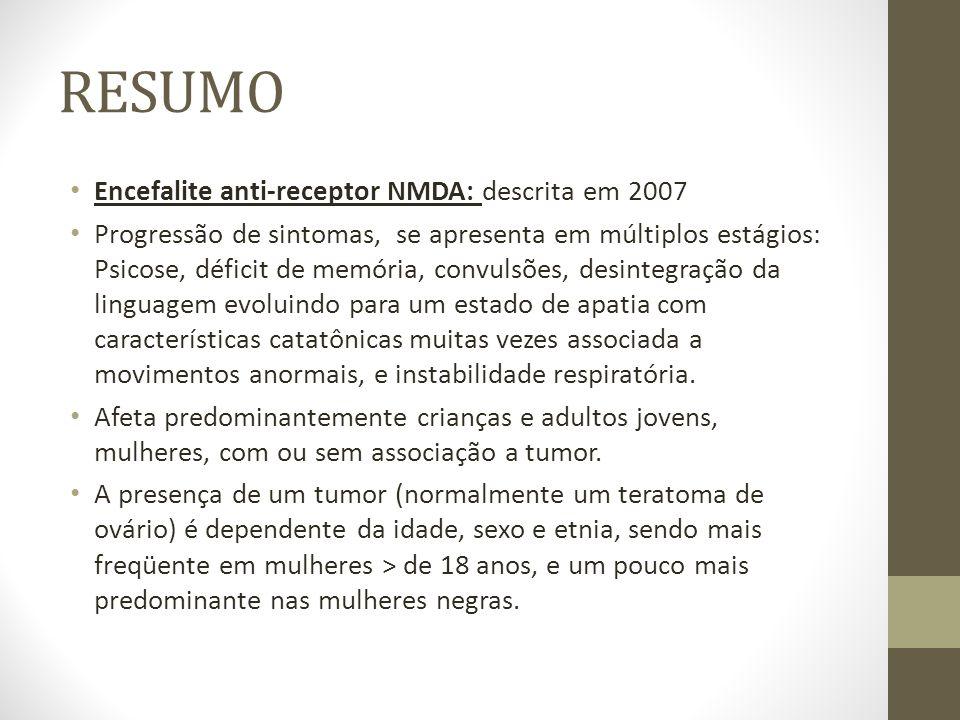 RESUMO Encefalite anti-receptor NMDA: descrita em 2007