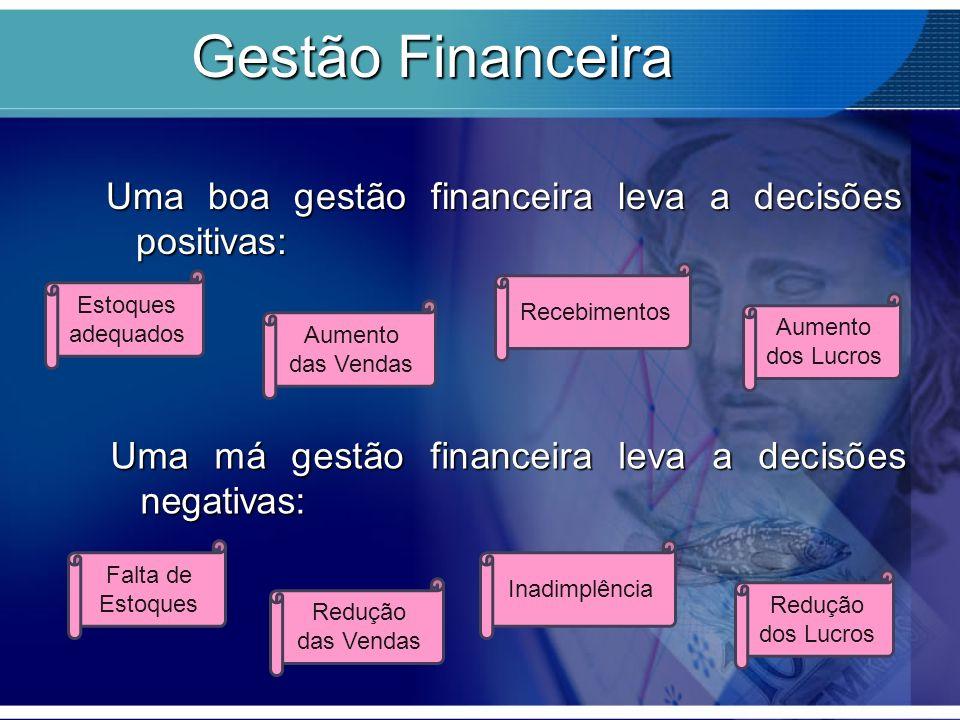 Gestão Financeira Uma boa gestão financeira leva a decisões positivas: