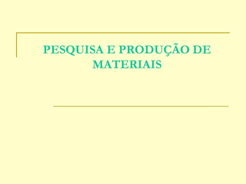 PESQUISA E PRODUÇÃO DE MATERIAIS