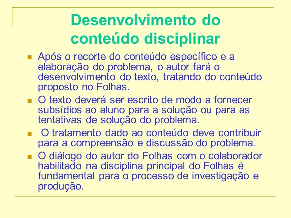 Desenvolvimento do conteúdo disciplinar