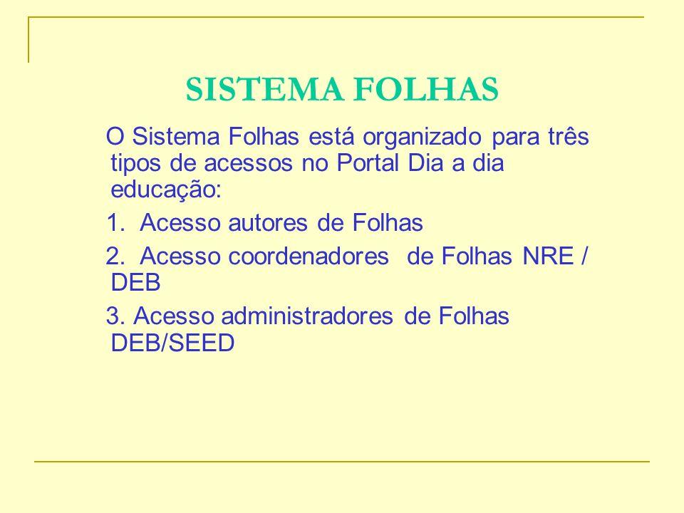 SISTEMA FOLHAS O Sistema Folhas está organizado para três tipos de acessos no Portal Dia a dia educação: