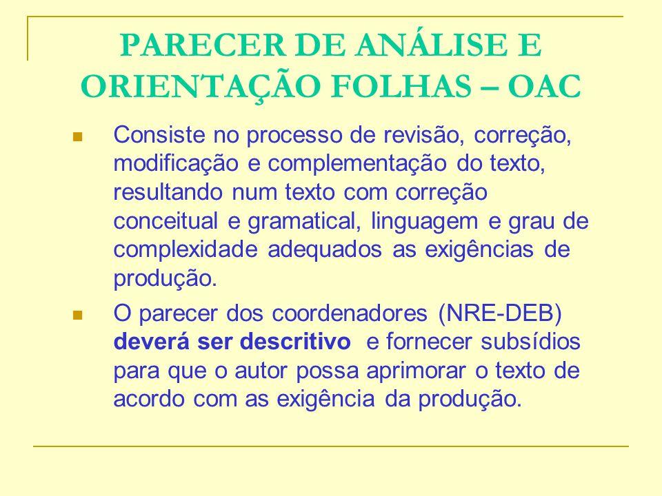 PARECER DE ANÁLISE E ORIENTAÇÃO FOLHAS – OAC