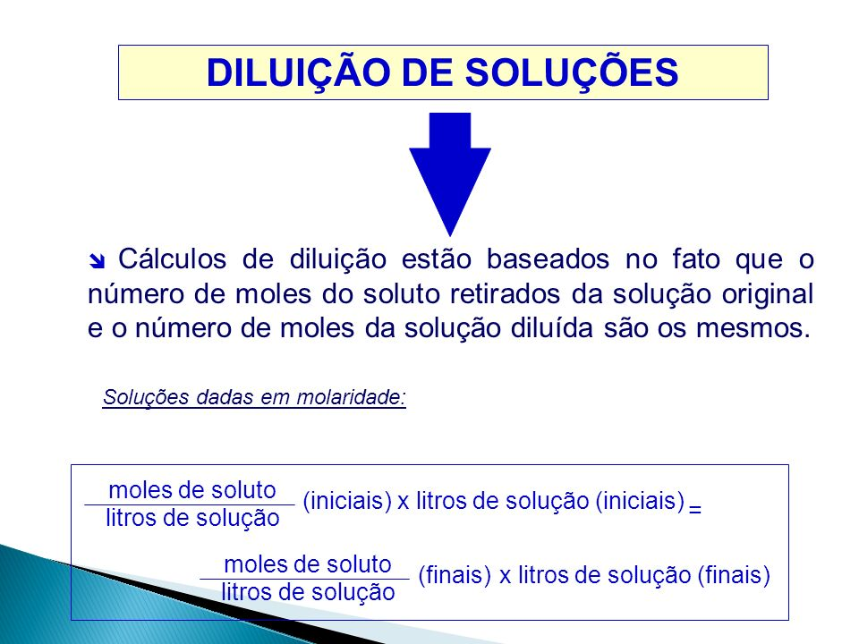 DILUIÇÃO DE SOLUÇÕES moles de soluto litros de solução (iniciais)