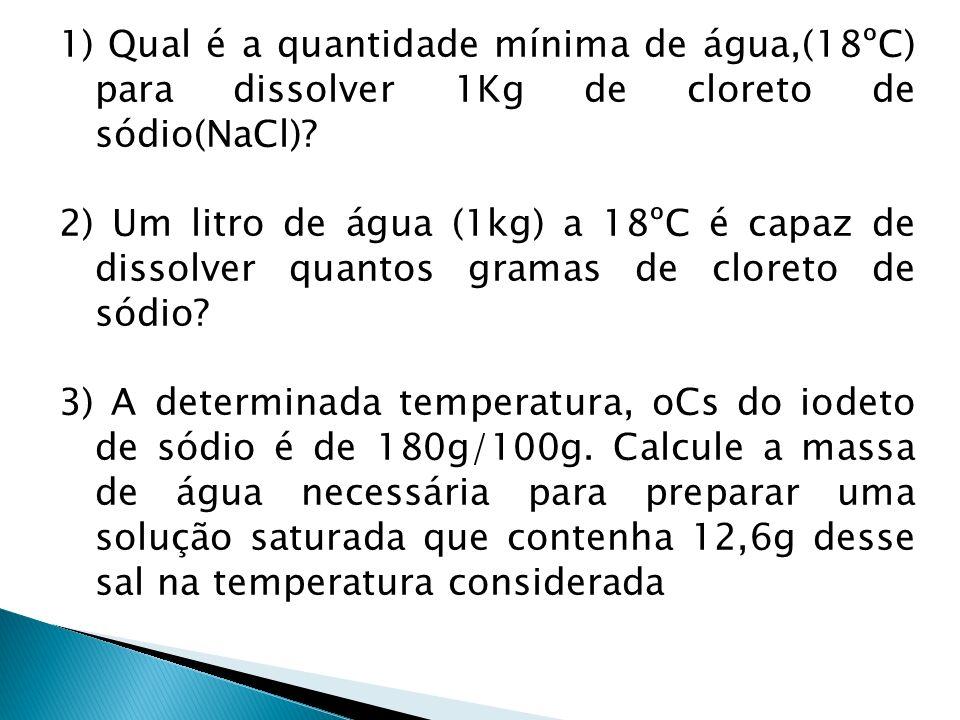 1) Qual é a quantidade mínima de água,(18ºC) para dissolver 1Kg de cloreto de sódio(NaCl)