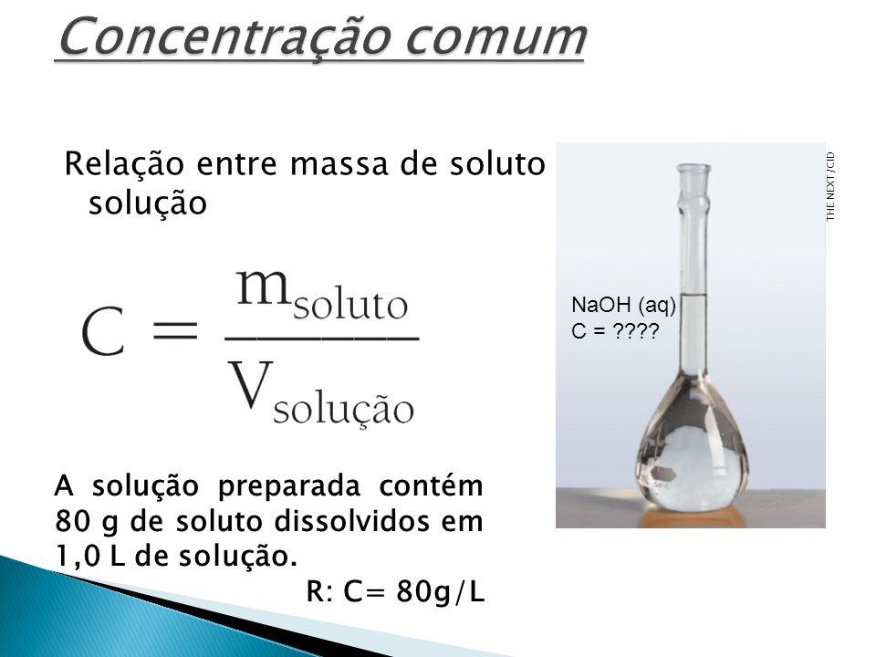 Concentração comum Relação entre massa de soluto e volume de sua solução. THE NEXT/CID. NaOH (aq)