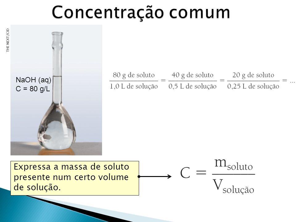Concentração comum THE NEXT/CID. NaOH (aq) C = 80 g/L. Professor: nesse momento faça dois comentários: