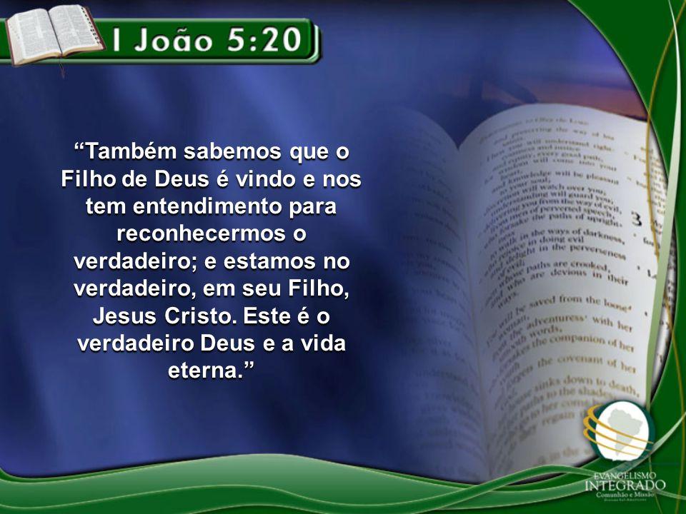 Também sabemos que o Filho de Deus é vindo e nos tem entendimento para reconhecermos o verdadeiro; e estamos no verdadeiro, em seu Filho, Jesus Cristo.