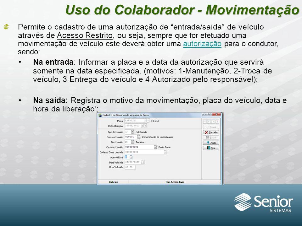 Uso do Colaborador - Movimentação