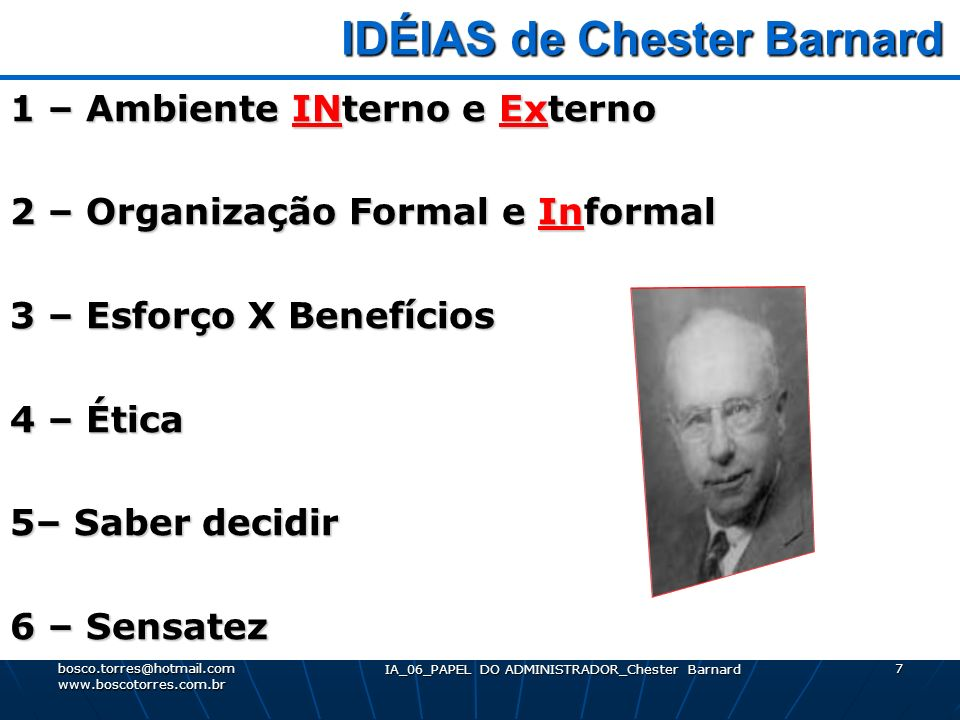 chester barnard Chester barnard's the functions of the executive (1938) represents a book of historical significance to the study of management using the fundamental principles that barnard outlines, an application of these principles is made to the area of strategic management.