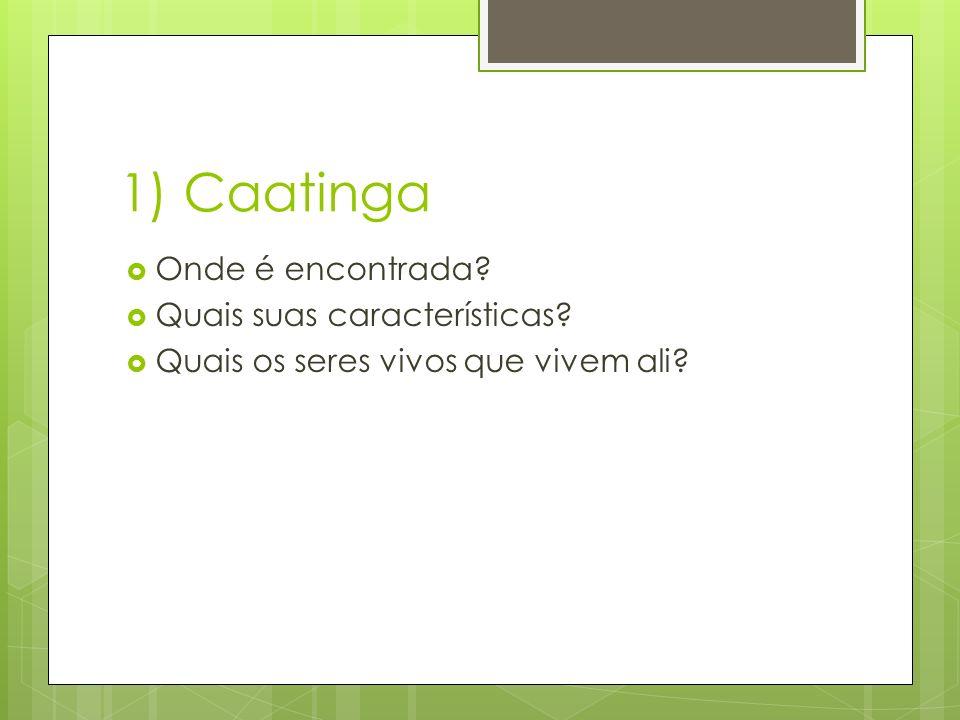 1) Caatinga Onde é encontrada Quais suas características