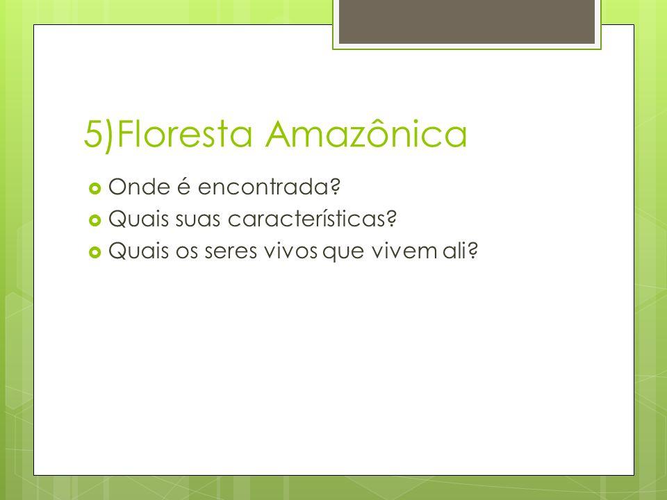 5)Floresta Amazônica Onde é encontrada Quais suas características