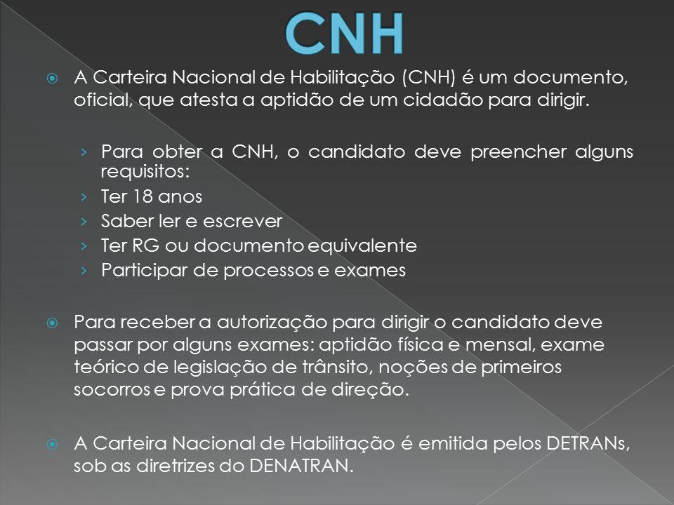 CNH A Carteira Nacional de Habilitação (CNH) é um documento, oficial, que atesta a aptidão de um cidadão para dirigir.