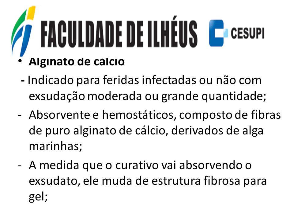 Alginato de cálcio - Indicado para feridas infectadas ou não com exsudação moderada ou grande quantidade;