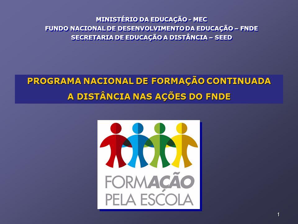 PROGRAMA NACIONAL DE FORMAÇÃO CONTINUADA A DISTÂNCIA NAS AÇÕES DO FNDE
