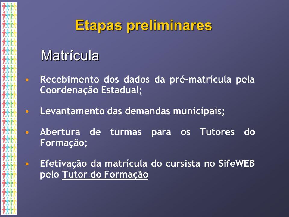 Etapas preliminares Matrícula