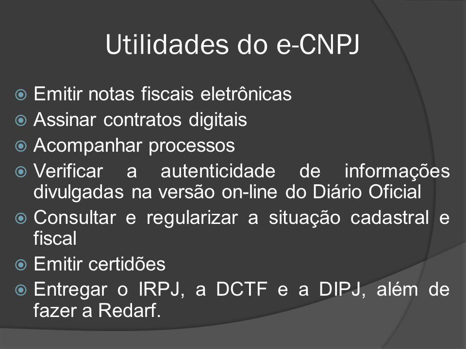 Utilidades do e-CNPJ Emitir notas fiscais eletrônicas