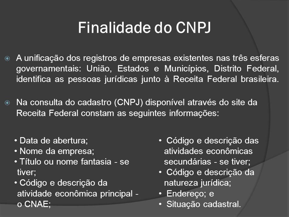 Finalidade do CNPJ