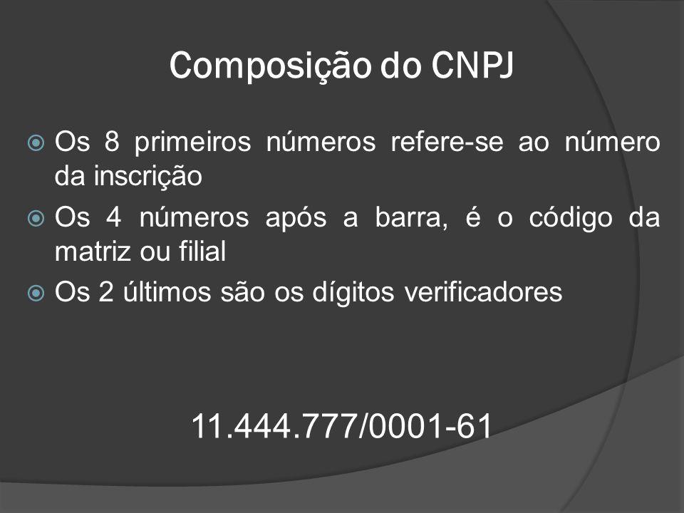 Composição do CNPJ Os 8 primeiros números refere-se ao número da inscrição. Os 4 números após a barra, é o código da matriz ou filial.