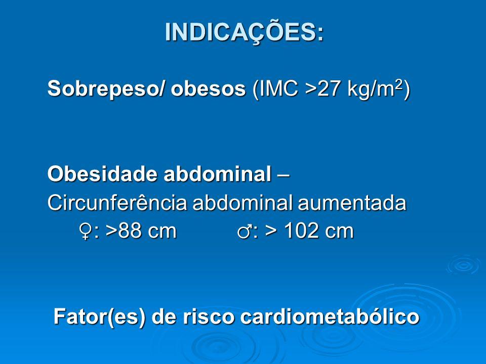INDICAÇÕES: Sobrepeso/ obesos (IMC >27 kg/m2) Obesidade abdominal –