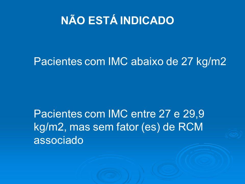 NÃO ESTÁ INDICADO Pacientes com IMC abaixo de 27 kg/m2.