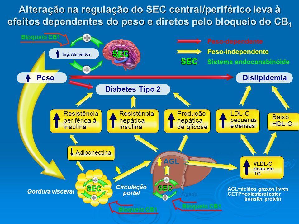 Alteração na regulação do SEC central/periférico leva à efeitos dependentes do peso e diretos pelo bloqueio do CB1