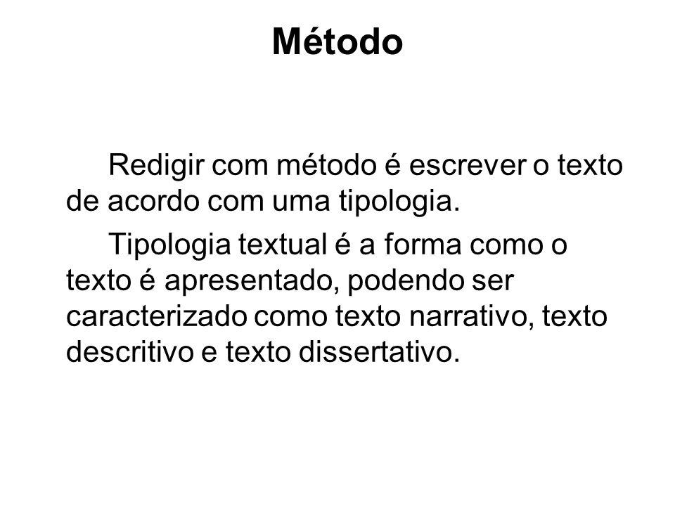Método Redigir com método é escrever o texto de acordo com uma tipologia.
