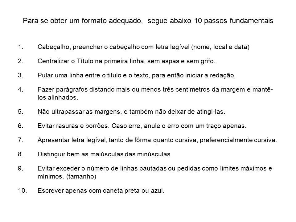 Para se obter um formato adequado, segue abaixo 10 passos fundamentais
