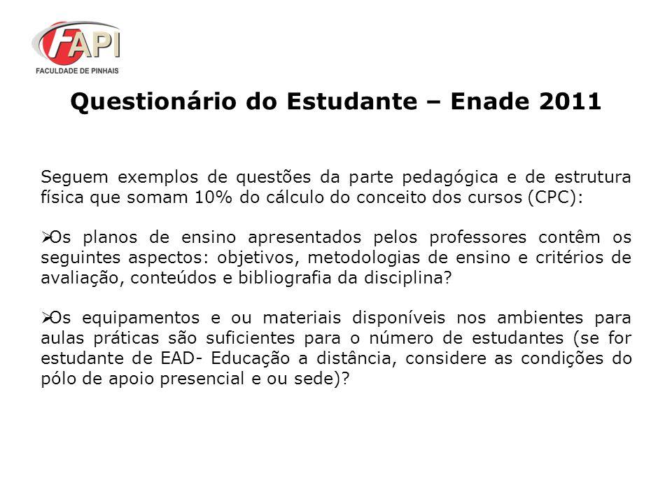 Questionário do Estudante – Enade 2011