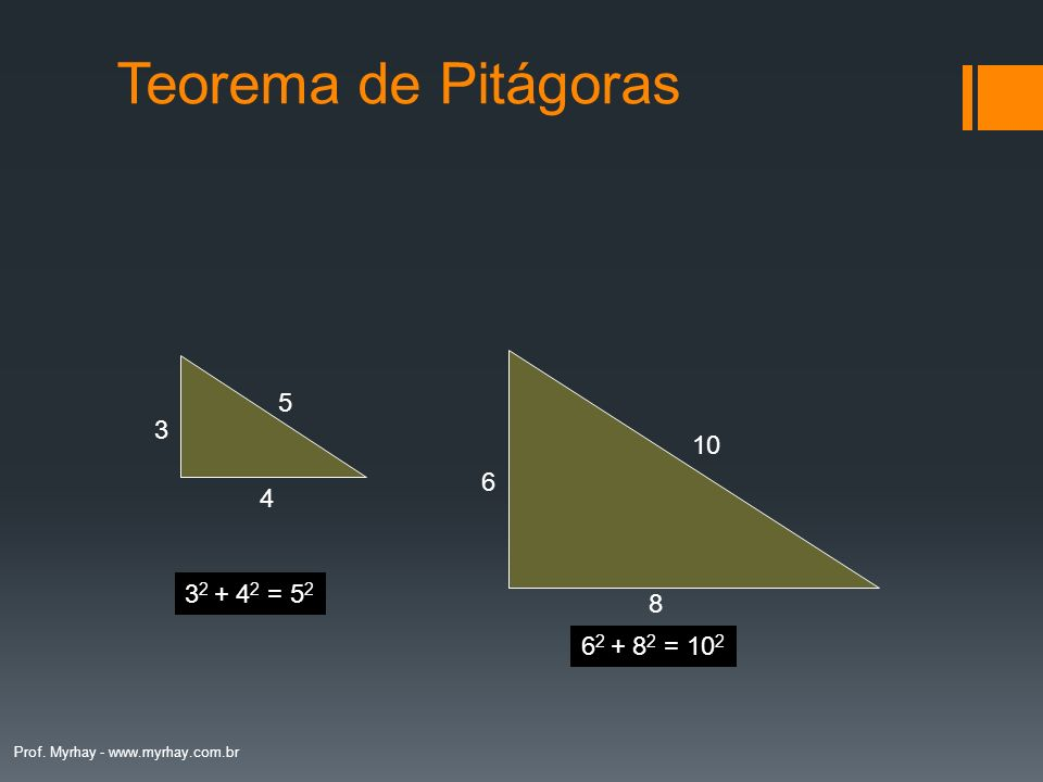 Teorema de Pitágoras 5 3 10 6 4 32 + 42 = 52 8 62 + 82 = 102