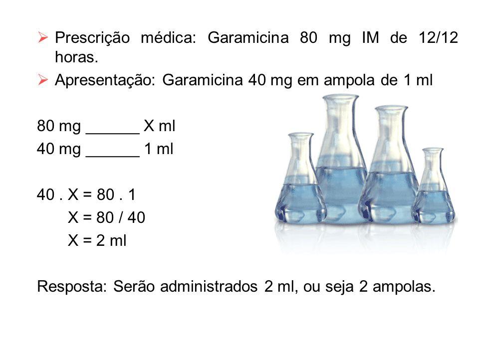 Prescrição médica: Garamicina 80 mg IM de 12/12 horas.