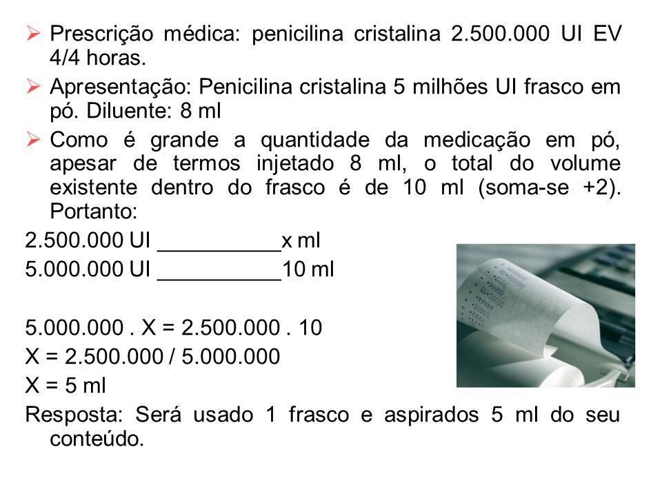 Prescrição médica: penicilina cristalina 2.500.000 UI EV 4/4 horas.