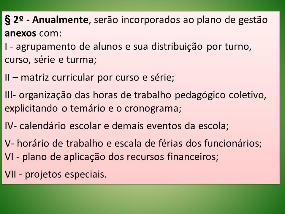 § 2º - Anualmente, serão incorporados ao plano de gestão anexos com: