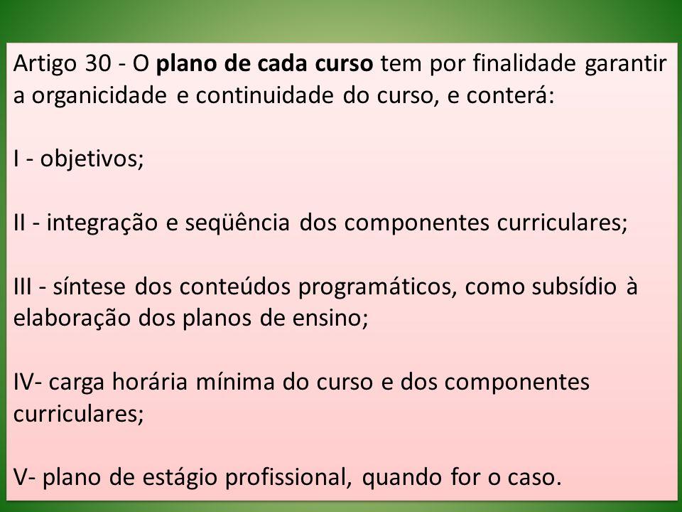 Artigo 30 - O plano de cada curso tem por finalidade garantir a organicidade e continuidade do curso, e conterá: