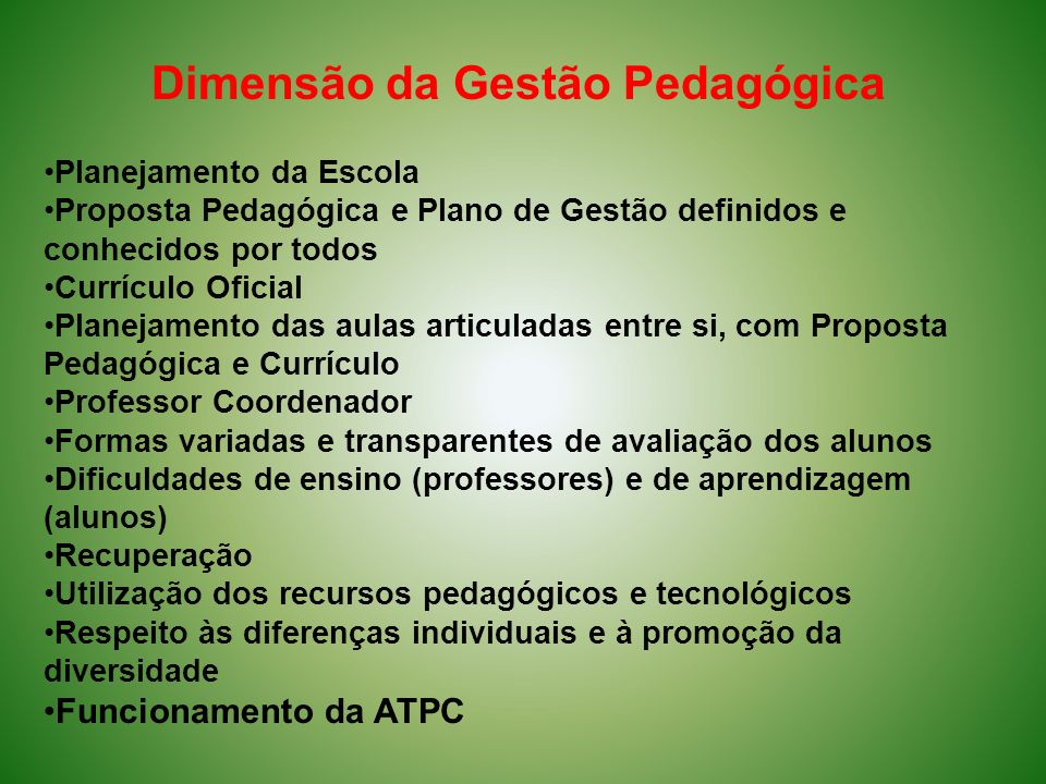 Dimensão da Gestão Pedagógica