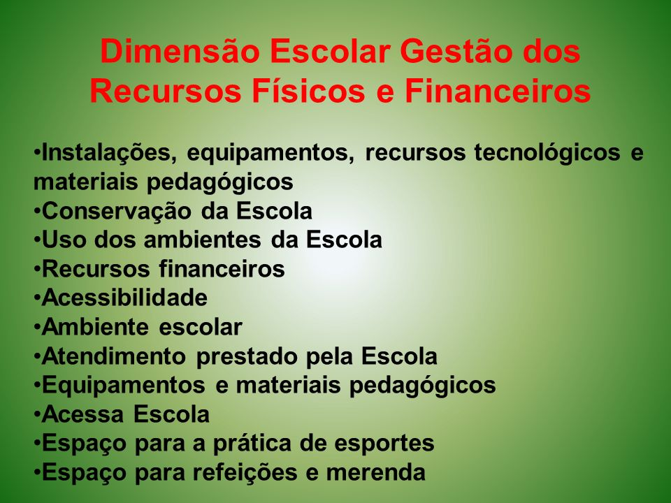 Dimensão Escolar Gestão dos Recursos Físicos e Financeiros