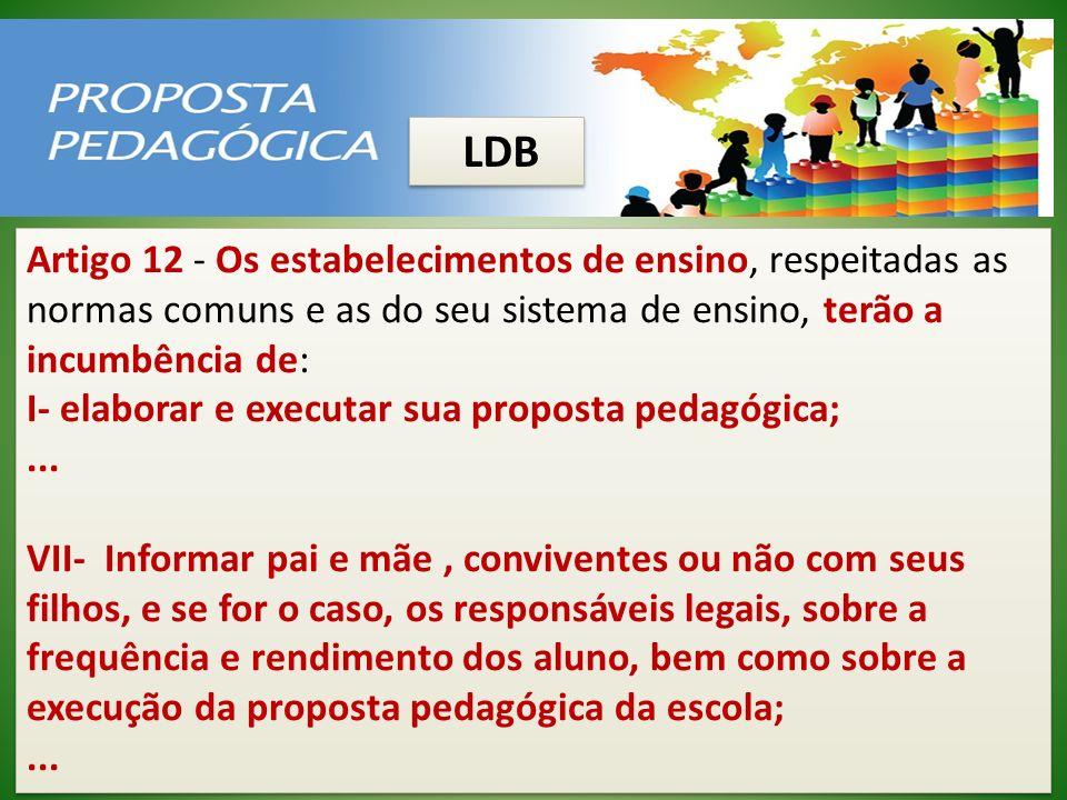 LDB Artigo 12 - Os estabelecimentos de ensino, respeitadas as normas comuns e as do seu sistema de ensino, terão a incumbência de: