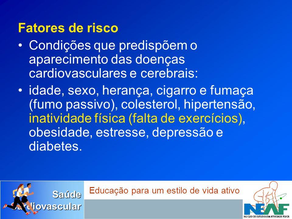 Fatores de risco Condições que predispõem o aparecimento das doenças cardiovasculares e cerebrais: