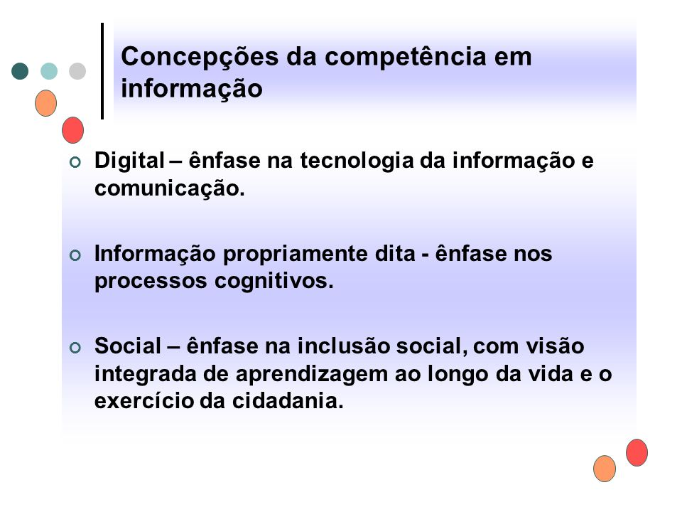 Concepções da competência em informação