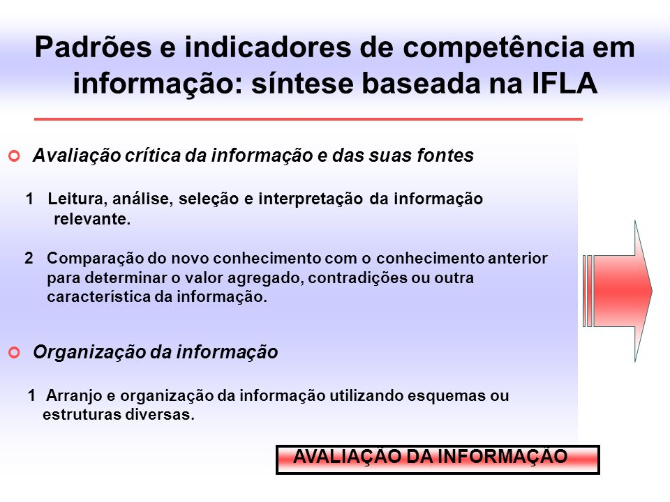 Padrões e indicadores de competência em informação: síntese baseada na IFLA