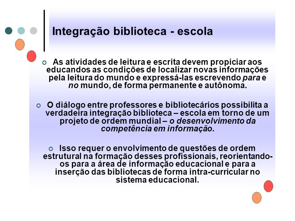 Integração biblioteca - escola