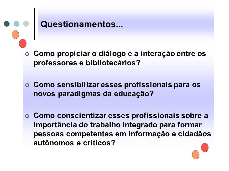 Questionamentos... Como propiciar o diálogo e a interação entre os professores e bibliotecários
