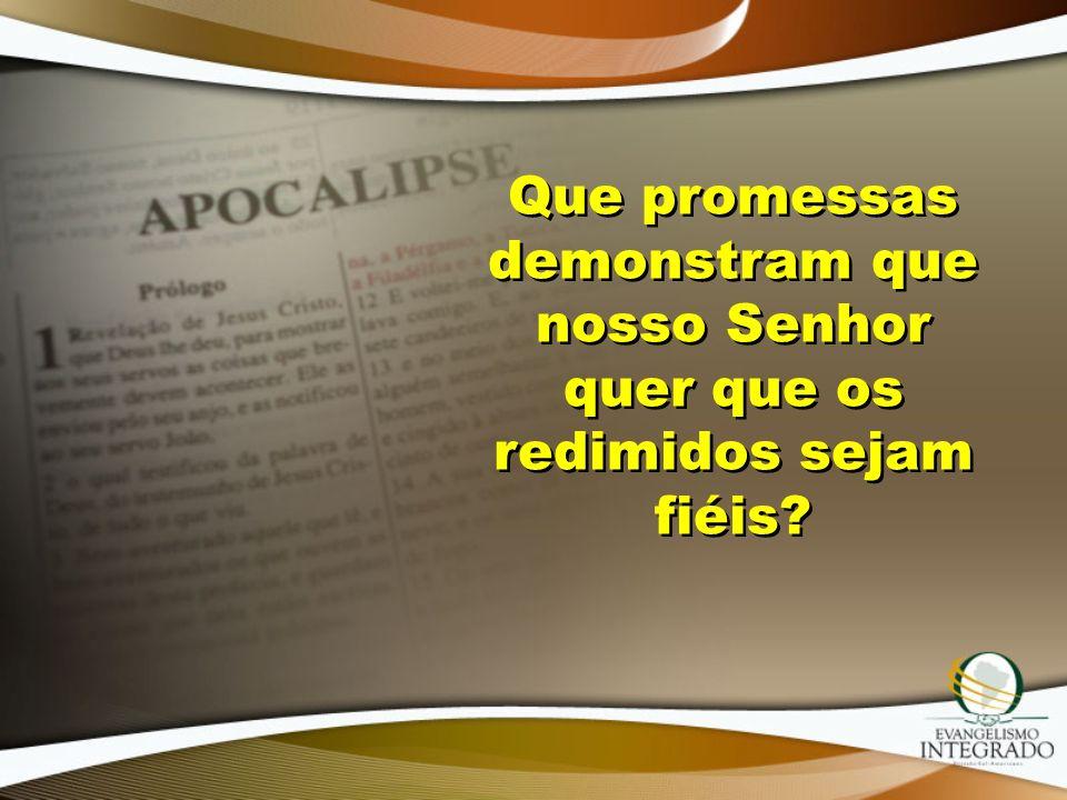 Que promessas demonstram que nosso Senhor quer que os redimidos sejam fiéis
