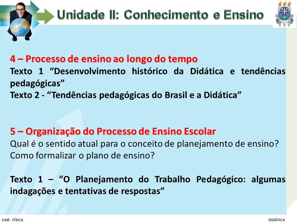 Unidade II: Conhecimento e Ensino