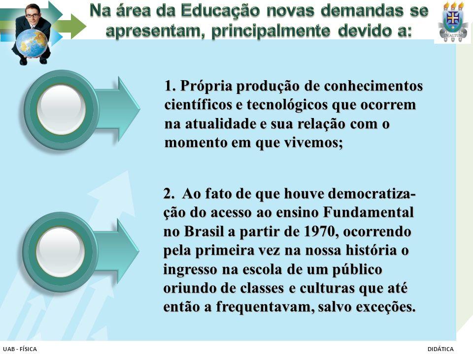 Na área da Educação novas demandas se apresentam, principalmente devido a: