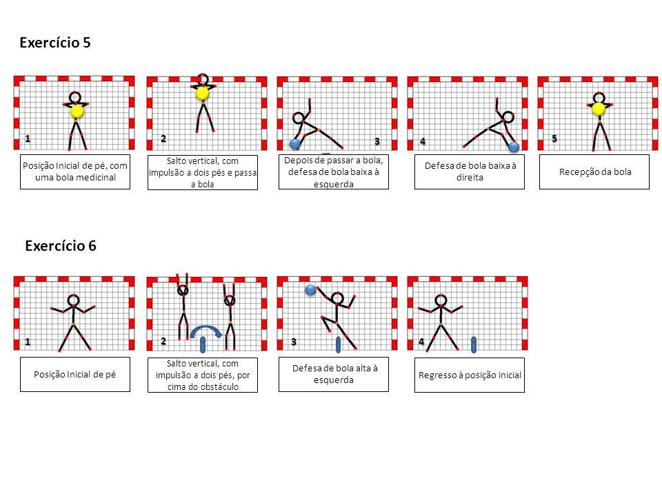 Exercício 5 3. 4. 1. 2. 5. Posição Inicial de pé, com uma bola medicinal. Salto vertical, com impulsão a dois pés e passa a bola.